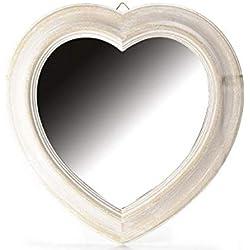 Espejo de Corazón con Marco de madera