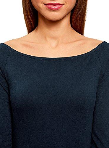 oodji Ultra Damen Tagless Schulterfreies T-Shirts mit 3/4-Arm Blau (7900N)
