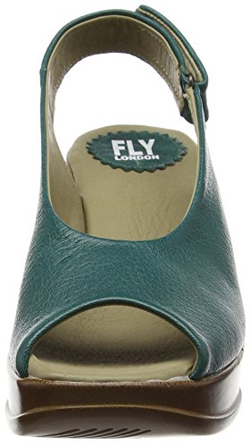 FLY London Hatt680Fly, Sandales Compensées femme Vert - Green (Nilegreen)