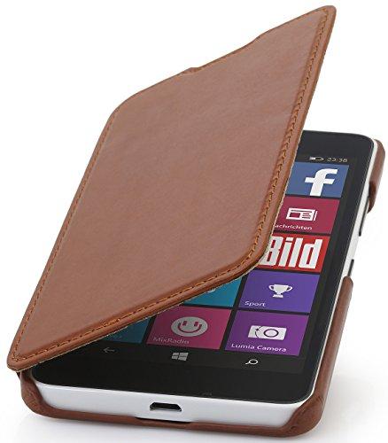 StilGut Book Type Case ohne Clip, Hülle aus Leder für Microsoft Lumia 640/640 Dual SIM (nur kompatibel mit schwarzer und weißer Version), Cognac