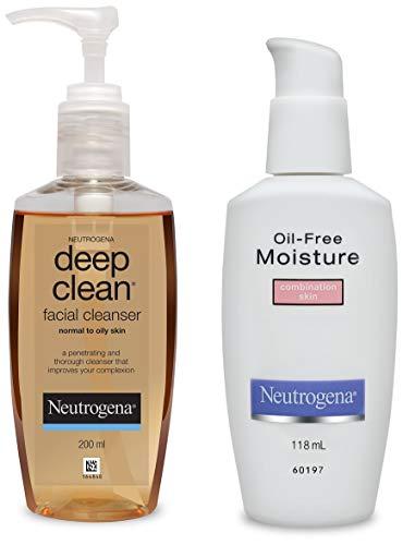 Neutrogena Deep Clean Facial Cleanser, 200ml and Neutrogena Oil Free Moisture For Combination Skin, 118ml