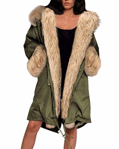 ZANZEA Donna Eco-pelliccia Cappotto staccabile Felpa con cappuccio Parka Giacca verde dell'esercito 46