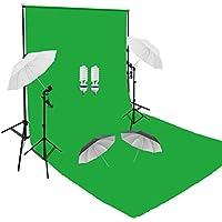 PMS Fotografia 3 x 6m verde Muselina algodón Fondo + 2.8m * 3M Soporte de