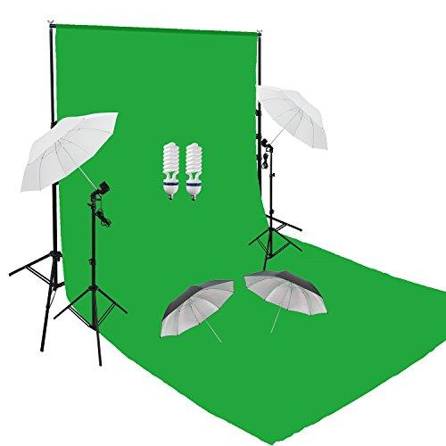 PMS Fotografico Studio Continua Ombrello Nero Argento e Bianco Kit luci + 6 x 3m Green Verde Schermo mussol Sfondo +3m x 2.8m Kit Supporto Fondale Background con Bulbi da a Luce Continua