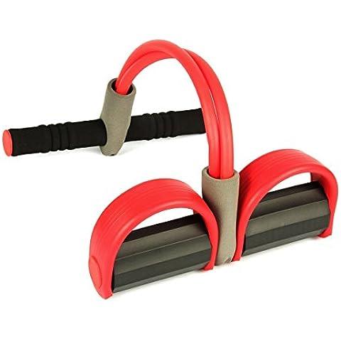 Uvistar Yoga Elasticidad Banda de entrenamiento de Resistencia con Pedal- Entrenamiento de Tronco y Abdominales Pilates para hombre Mujer Ejercicio Gimnasio moda de la aptitud del equipo de yoga multicolor (Yoga Rojo)