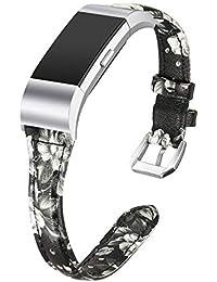 Dolank, Cinturino di Ricambio per Fitbit Charge 2, Sottile, in Vera Pelle, Accessorio di Ricambio, per Donne e Uomini, Gray Flower, L