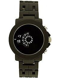 d1acc8aed72 Softech Men s Jump Hour Disk Display Analog Metal Wrist Watch Matt Black  Quartz