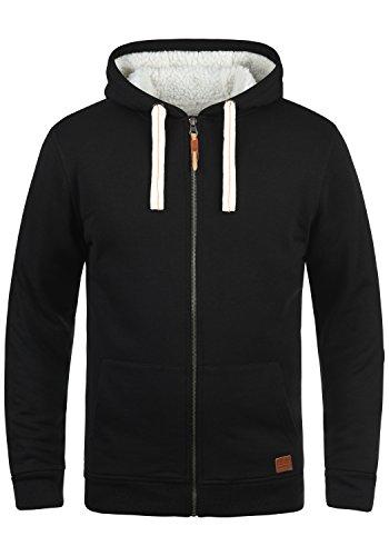 Zip Hoodie Jacke (BLEND Ted Herren Sweatjacke Kapuzen-Jacke Zip-Hoodie mit Teddy-Futter aus hochwertiger Baumwollmischung, Größe:L, Farbe:Black (70155))
