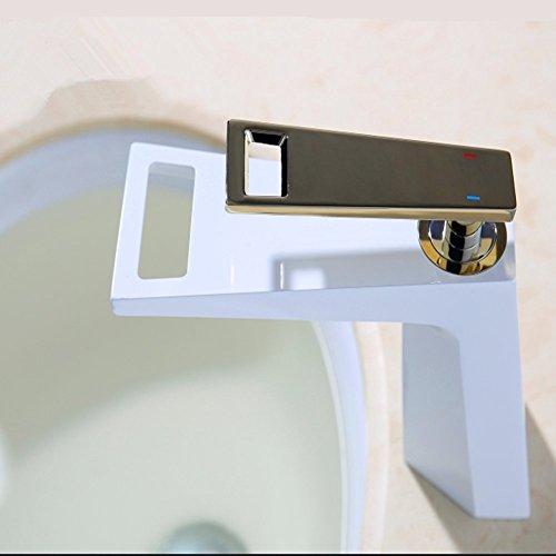 QYJ Der Ursprüngliche Einzelne Export Kreative Wasserfall Heißen Und Kalten Becken Wasserhahn Kupfer WC Badezimmer Zähler Becken Wasserhahn,White