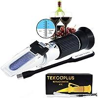 Óptica Refractómetro de Vino de Uva con ATC, Escala Doble 0-25% vol y Alcohol y 0-40% Brix, para Vinificación, Preparación de la Casa, Enólogos, con luz LED y pipetas