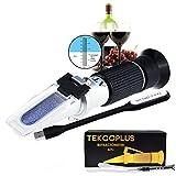 Optik Traubenweinrefraktometer mit ATC, Doppelt Scala 0-25% vol und Alkohol & 0-40% Brix, für die Weinherstellung, Hausbrauen, Winzer, mit LED-Licht und Pipetten