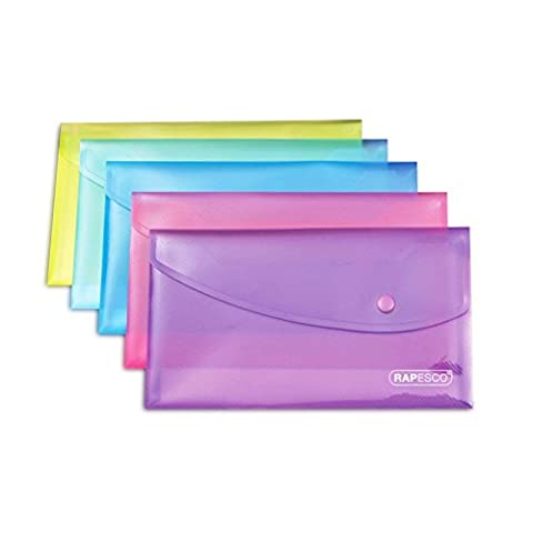 Rapesco 0689 Dokumententasche mit Druckknopf A5 Transparent Farblich Sortiert 5 Stück