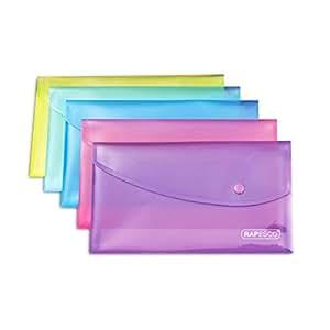 Rapesco Pochette Porte-documents avec Bouton Pression Transparentes A5 Lot de 5