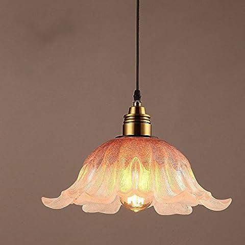 Creativi retrò Cafe pub ristorante singolo vetro con lampadario di fiore di (Viola Ornamento Di Vetro)