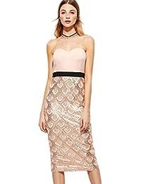 d23e5345e1 COCO clothing Contraste Coctel Lápiz Noche Vestido de Senora Sin Tirantes  Escotado por Detrás Lentejuelas de