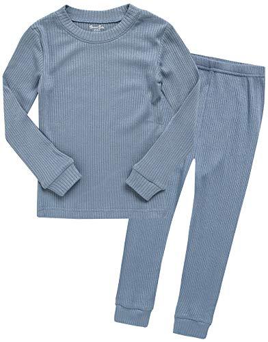 garm zweiteilig Schlafanzug Modal Pajamas 2pcs Set Rib Knit Blue S ()