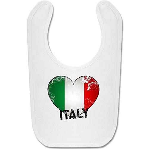 Städte & Länder Baby - Italien Herz Vintage - Unisize - Weiß - BZ12 - Baby Lätzchen Baumwolle