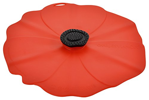 Charles Viancin Round Pan Lid / Spill Stopper / Airtight Food Storage Lid, Silicone, Poppy, 28 cm / 11 inch