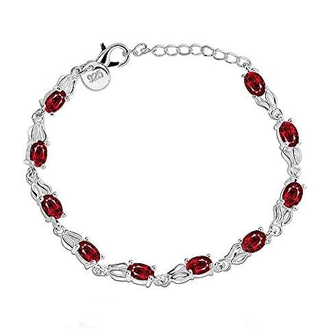 BODYA Women's Silver Plated oval Cut red Cubic Zirconia Diamond Tennis Rhinestone link Bangle Bracelet