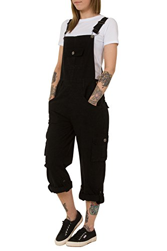 USKEES Daisy Black Cotton Dungarees - Petite Loose Fit Roll-up leg Overalls DAISYBLACKPETITE-10