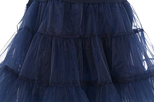 bbonlinedress Organza 50s Vintage Rockabilly Petticoat Underskirt Navy S - 4