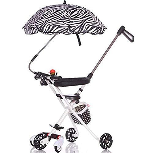 WYD Fünf-Rad-Kinderwagen Slip Baby Artifact Trolley Blink Anti-Rollover Einfache leichte Kinder Klapp DREI-Rad-Trolley Kinderwagen Geeignet für 12 Monate bis 6 Jahre alt,Black