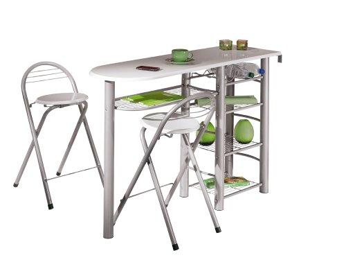 Links - 50901190, Tavolo bar da cucina, incl. 2 sgabelli, design moderno, colore: Bianco