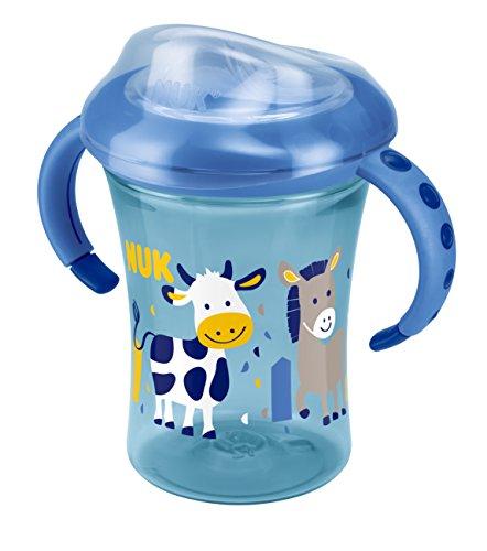 NUK 10255356 Starter Cup 230ml, Silikontrinktülle, auslaufsicher, ab 6 Monaten, blau