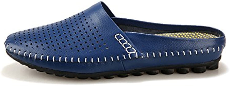 Esthesis Hommes D'été en Cuir Demi Respirant Chaussures Pantoufles Tongs Respirant Demi Marine À Clous Penny Mocassins 461637