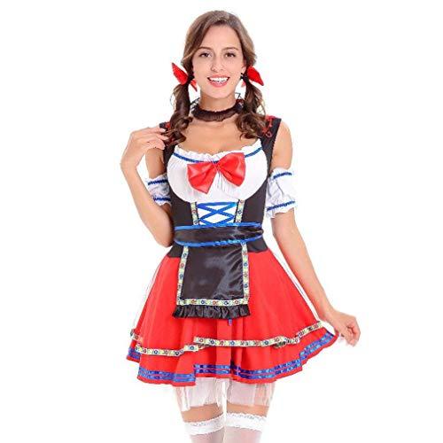Mädchen Kostüm Drei Für Coole - VEMOW Cute Design Elegante Damen Costume Rote Spitze Oktoberfest Kostüm Bayerisches Bier Mädchen Dirndl Cosplay Kleid(Rot 3, EU-40/CN-XL)