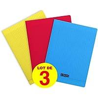Calligraphe 183390AMZC- Un lot de 3 cahiers piqués 192 pages 24x32 cm grands carreaux, Couverture polypro couleurs assorties (bleu, rouge et jaune)