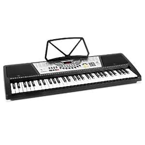 Ibiza MEK6100 - Synthetiseur 61 touches avec 100 rythmes et 8 percussions preinstalles, effets reglables et fonction enregistrement (haut-parleurs, pupitre pour partitions)