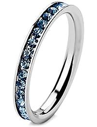 MunkiMix Acero Inoxidable Eternidad Eterno Anillo Ring Banda Venda Cz Cubic Zirconia Circonita Claro Azul Alianzas