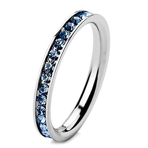 MunkiMix Edelstahl Ewigkeit Ewig Ring Band CZ Zirkon Zirkonia Hell Blau Hochzeit Größe 54 (17.2) Damen - Alle Cz Herren Ringe