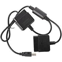SODIAL(R) Dual Adaptador Converter para Mando de PS1 PS2 a PS3 PC USB Negro
