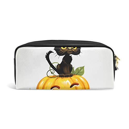 (FANTAZIO Federmäppchen mit schwarzer Katze auf Halloween, Kürbis-Make-up-Tasche)