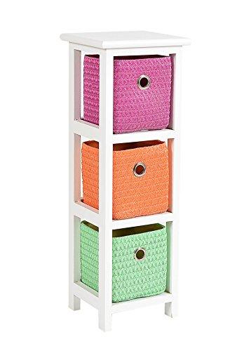 ts-ideen Kommode Nachttisch Schrank 62 cm Höhe Bad Regal Weiß mit 3 Körben in Orange Pink Grün für Kinderzimmer, Büro, Bad, Flur und...
