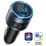 Mpow Trasmettitore FM Bluetooth 5.0 per Auto Supporta Siri & Assistente Google, Ricaricare Fino a 2 Dispositivi con QC 3.0 o 5V/2.4A, Chiamata in Vivavoce per Guida Sicura, Musica Bluetooth/Disco U