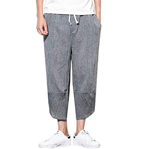 FeiBeauty ☀‿☀ Pantaloni Lino Uomo Estivi, Pantaloni di Lino Uomo Baggy Casual Pantalone Pantaloncini con Tasconi Pantaloni - Harem - Uomo