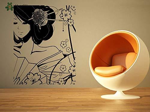 Lager Mädchen Kostüm - Fengdp Vinyl Wandtattoo Kostüm Schöne Geisha Mädchen Und Blume Cartoon Home Living Room Decor Aufkleber 57 * 72 cm