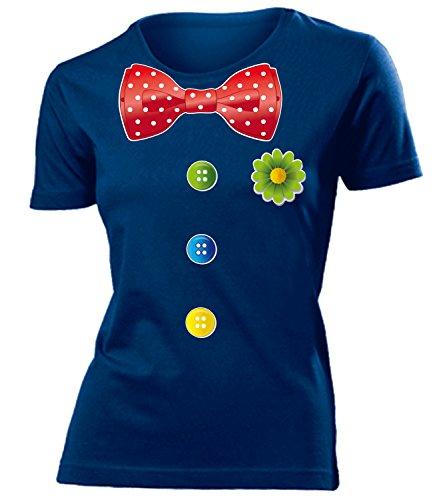 Clownkostüm Clown Kostüm Kleidung 762 Damen T-Shirt Frauen Karneval Fasching Faschingskostüm Karnevalskostüm Paarkostüm Gruppenkostüm Navy L (Kostüme De Clown)