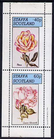 Staffa 1981 Roses #2 (Peace & Queen Elizabeth) perf set of 2 values (40p & 60p) u/m FLOWERS ROSES PEACE JANDRSTAMPS (9499)
