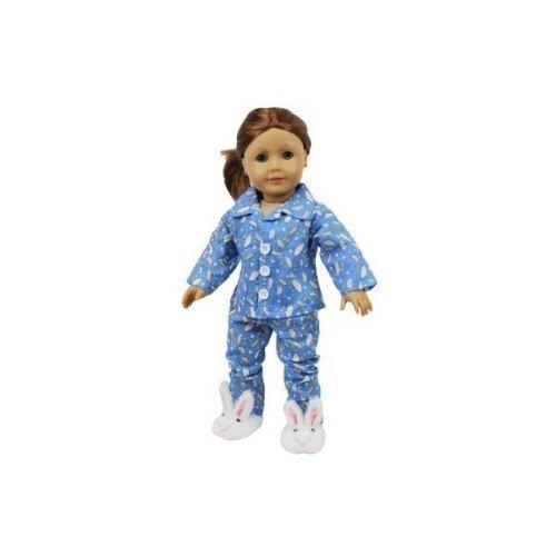Dress Along Dolly Puppe Kleidung amerikanischen Mädchen Puppen 3-teilige Pyjama mit Bunny Hausschuhe regnerischen Tag (2 Zimmer mit Regenschirm Schlafanzug auf dem Thema und Pe Bunny Hausschuhe)