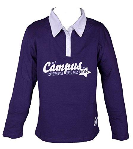 Kinder Mädchen Poloshirt Langarm Sweatshirt für Kids verschiedene Farben, Lila, 152
