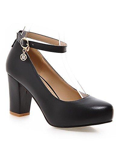 WSS 2016 Chaussures pu talons talon chunky / confort talons bureau des femmes&carrière / casual noir / rose / violet / blanc pink-us9.5-10 / eu41 / uk7.5-8 / cn42
