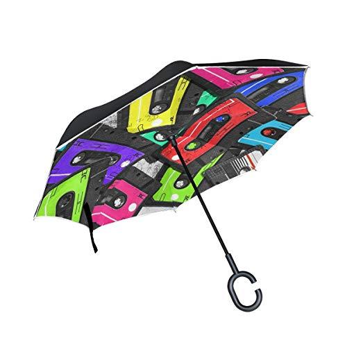HYJDZKJY Double Layer Inverted Umbrella Autos Reverse Umbrella Bunte alte Audio-Kassetten Winddicht UV Proof Travel Outdoor Umbrella -