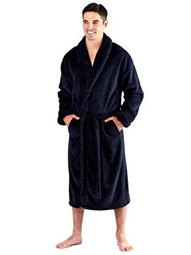 Harvey James Herren Coral Fleece Robe 300 Gsm Navy, Schwarz oder Grau M L XL XXL (Medium, (Billig Satin Roben)