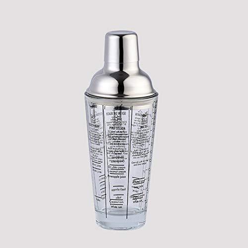 OLDK 1 STÜCKE 400 ML Flasche Mix Master Glas Transparent Skala Cocktail Shaker 304 Edelstahl Bar Und Glas Shaker Bar Werkzeuge