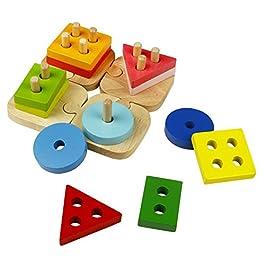ACOOLTOY Forma Geometrica Stacker Legno Sorter Puzzle Colonna per i Bambini 3 Anni+