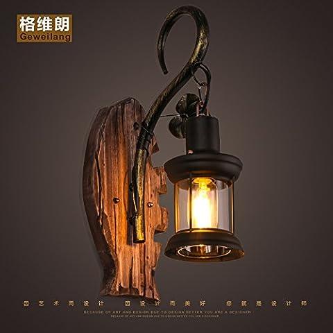 LLHZ-American retro hombre eólica industrial restaurante, decoración de cristal retro dormitorio cabecero de madera maciza de arte lámpara de pared